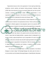 Organizational Chart Food And Beverage Food And Beverage Lodging Organizational Structure Essay