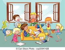 family room clipart. children doing activities in the living room illustration family clipart m