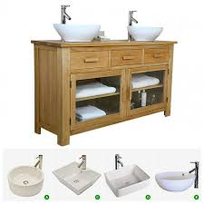 double oak vanity unit