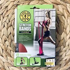 Golds Gym Stretch Bands Set 3 Levels Sculpt Tone Muscle Pilates Hiit