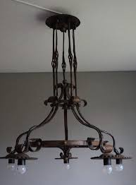 incredible extra large wrought iron chandeliers good size and hand forged arts and crafts wrought iron