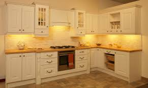 Orange And Grey Wall Kitchen With Small Cabinet Design White Color
