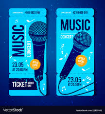 Music Concert Ticket Template With Microphone