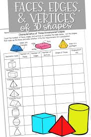 3d Shapes Edges Vertices And Faces Chart Faces Edges Vertices Of 3d Shapes Dimensional Shapes
