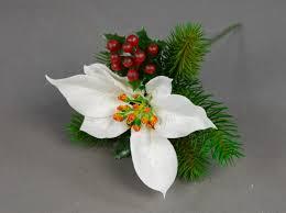 Weihnachtsstern Beeren Tannenpick 22cm Weiß Pm Künstliche Tanne Blumen Kunstblumen Tannenzweig