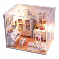 hoomeda diy wood dollhouse miniature piano doll house with ledfurniturecover assembling handworked affordable dollhouse furniture
