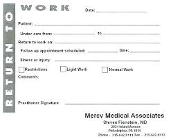 Doctors Note Template Return To Work Free Printable Notes Templates