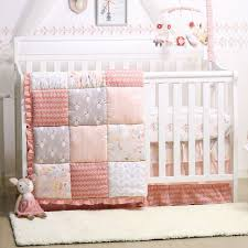 baby girl crib bedding forest patchwork animal theme woodland whimsy 4pc