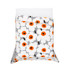 marimekko unikko grey white orange duvet set utö