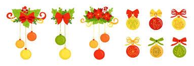 Premium Vector   <b>Christmas decoration cartoon</b> set. ball flat colorful ...