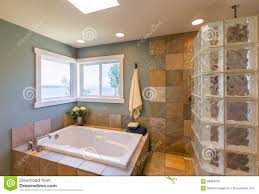 spa bathroom showers: contemporary upscale home spa bathroom interior with acrylic soaking tub glass block shower slate