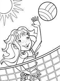 Volleyball Color Pages A Girl Blocking The Volleyball Coloring Page Download Print