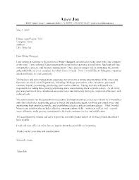 Sample Assistant Manager Cover Letter Cover Letters Retail Store