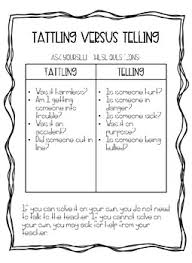 Tattling Vs Telling By Amy C Hearne Teachers Pay Teachers