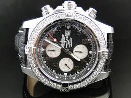 mens breitling diamond watch mens 1 row breitling super avenger aeromarine 48 mm genuine diamond watch 3 5 ct