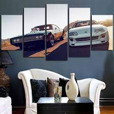 <b>HD</b> Printed <b>5 Piece</b> Canvas Art Fast & Furious Racing Cars Wall Art ...