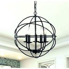 large metal orb chandelier wood and globe studio