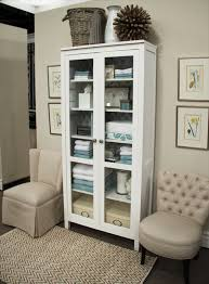 hemnes cabinet w glass doors in white from ikea to go next to desk
