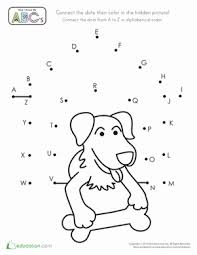 alphabet dot to dot dog alphabet dot to dot dog house worksheet education com on www education com worksheets