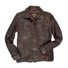 stonewashed leather jean jacket