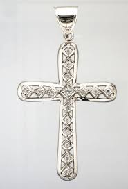 9ct white gold 16 stone gem cross pendant to enlarge images stock