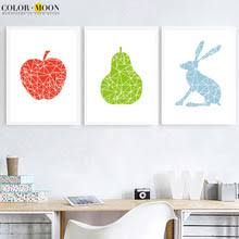 >buy pears wall art and get free shipping on aliexpress  colormoon rabbit apple pear wall art print canvas painting nordic posters and prints cartoon wall pictures