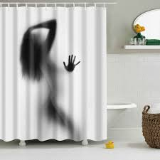 hot eco friendly charming figure printing shower curtain for bathroom black grey