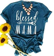Blessed Mama Shirt Women Cute Arrow Letter Graphic Tees Mom Loose Short Sleeve T Shirt