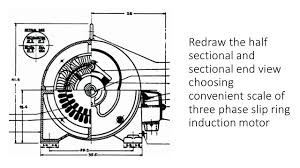 half sectional and sectional end view choosing convenient scale of three phase slip ring induction motor
