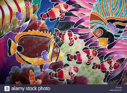 Batik Fish Design Tropical Reef Fish On A Malaysian Batik Stock Photo