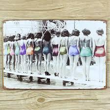 Swimming Pool Decor Signs Metal Tin Signs Bar Home Coffee Wall Art Decor Sexy Girl Swimming 82