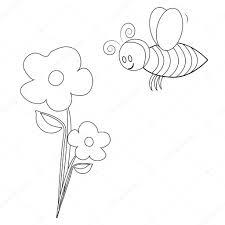 Bumble Bee Met Bloemen Kleurplaten Pagina Stockfoto Smk0473