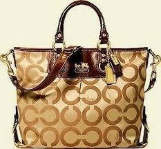 Coach Madison Khaki Sateen Op Art C Julianne Large Handbag Gold Embossed Coach  Signature Logo Tote