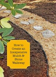 diy walkways create an inexpensive mulch and stone walkway do it yourself walkway ideas