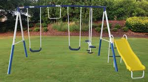 kids play all day backyard heavy duty metal swing set slide outdoor playground