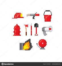 Firefighter Tools Pixel Art Old School Computer Graphic 8