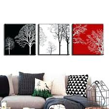 modern black white. 3 Set Canvas Wall Art Black White Red Discount Framed Painting Modern Tress Abstract