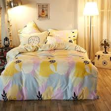 4pcs fashion lovely cartoon pale pink blue yellow twin full queen king size bright yellow duvet pale yellow duvet cover