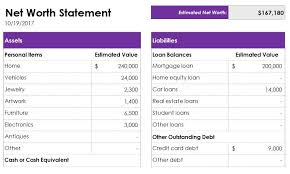 Asset Net Worth Net Worth Statement Template Excel Statement Template