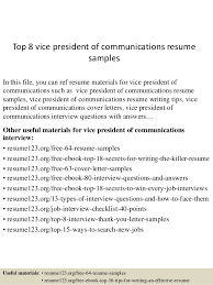 communications resume samples top 8 vice president of communications resume samples