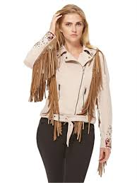 glamorous women s faux suede embroidered fringed biker jacket