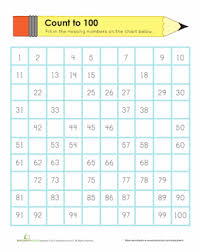 100 Counting Chart Counting To 100 Worksheet Education Com