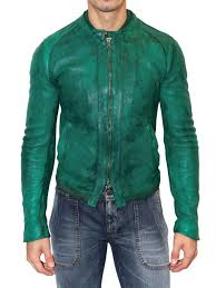 lyst dolce gabbana dyed washed na leather jacket in green for men