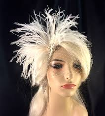 bridal feather fascinator, bridal fascinator, bridal headpiece Wedding Hair Pieces With Feathers bridal feather fascinator, bridal fascinator, bridal headpiece, bridal hair accessories, bridal veil, white, ivory and black, pearls Flower and Feather Hair Pieces