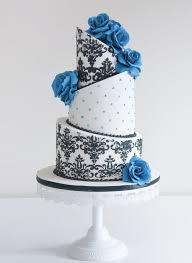 black and white and blue wedding cakes. White And Black Damascus Wedding Cake With Blue Flowers Cakes
