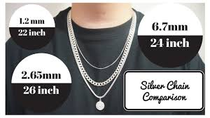 Chain Length Chart Inches Silver Chains Length And Width Comparison
