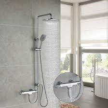 Homelody Duschsystem Mit Thermostat Trennbar 3 Funktionen Duschset Brausethermostat Duscharmatur Regendusche überkopfbrause Handbrause Duschsäule Für