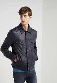 burnished jean jacket leather jacket midnight