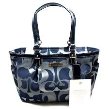 Home · Coach · Gallery Optic Medium Signature Tote Bag Blue. CLICK  THUMBNAIL TO ZOOM. Found ...