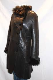 las 3 4 shearling sheepskin coat with toscana collar and cuffs